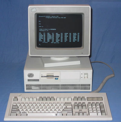 An IBM PS/2 computer running MS-DOS 3.3